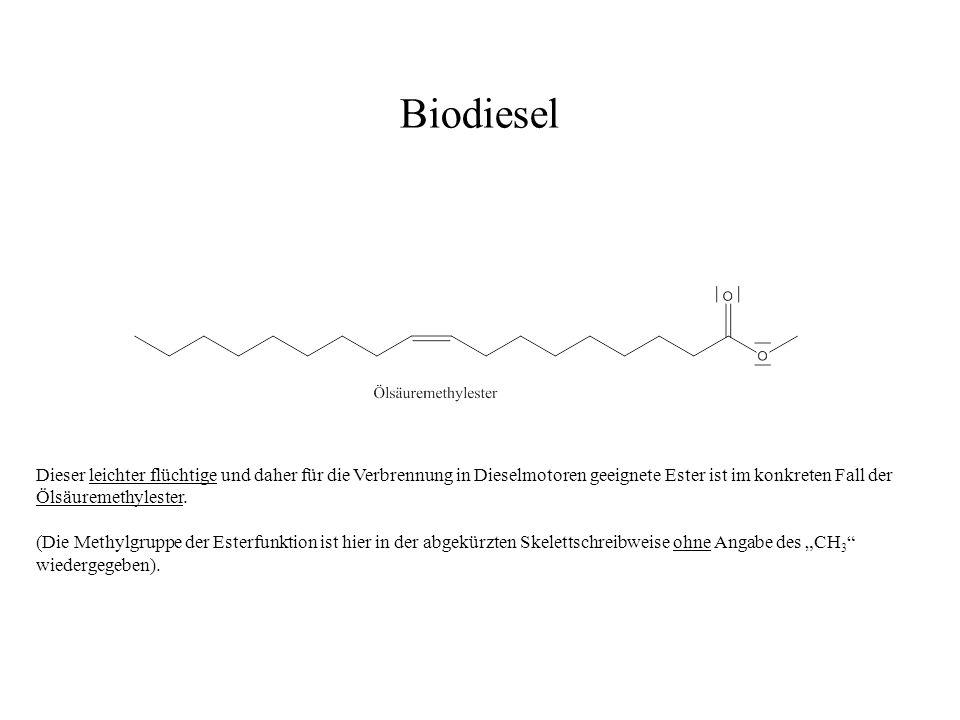 Biodiesel Dieser leichter flüchtige und daher für die Verbrennung in Dieselmotoren geeignete Ester ist im konkreten Fall der Ölsäuremethylester.