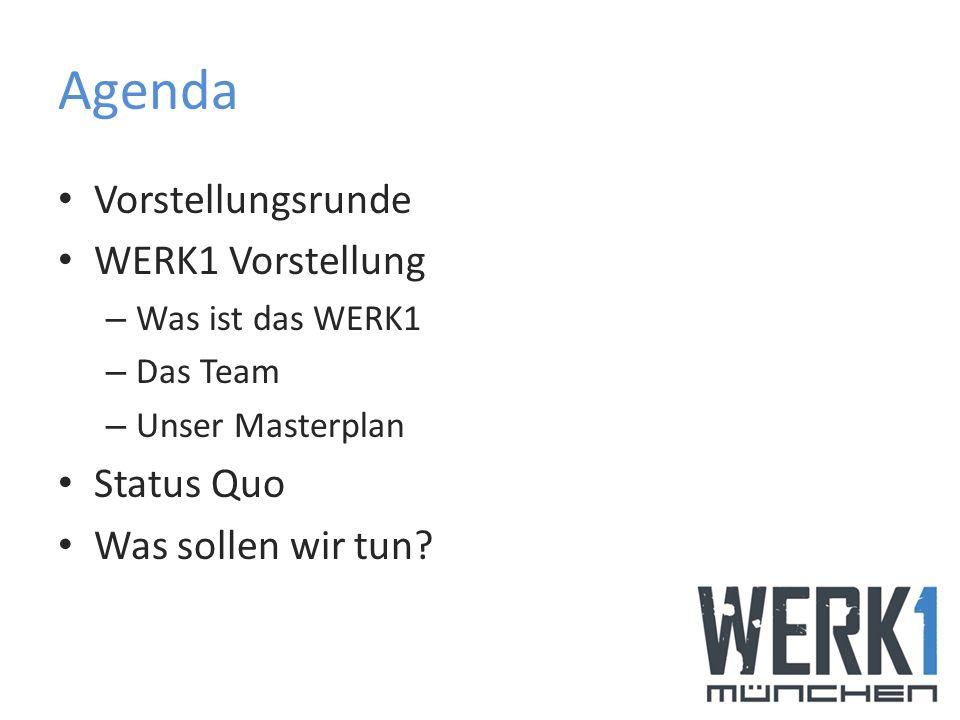 Agenda Vorstellungsrunde WERK1 Vorstellung Status Quo