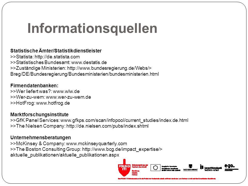 Informationsquellen Statistische Ämter/Statistikdienstleister