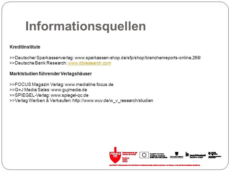Informationsquellen Kreditinstitute