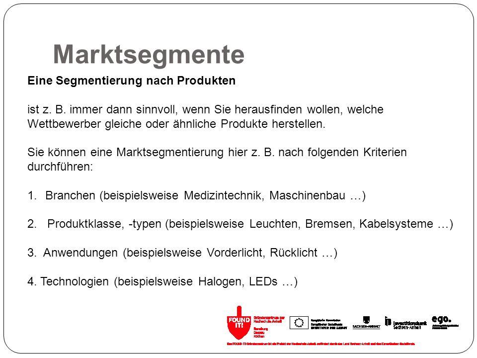 Marktsegmente Eine Segmentierung nach Produkten