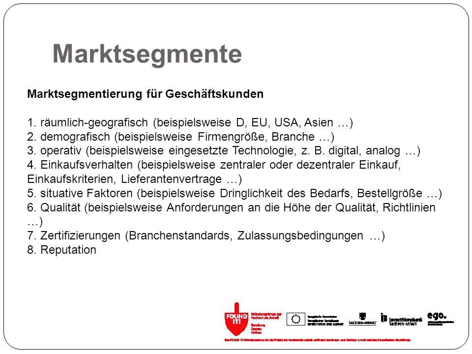 Marktsegmente Marktsegmentierung für Geschäftskunden