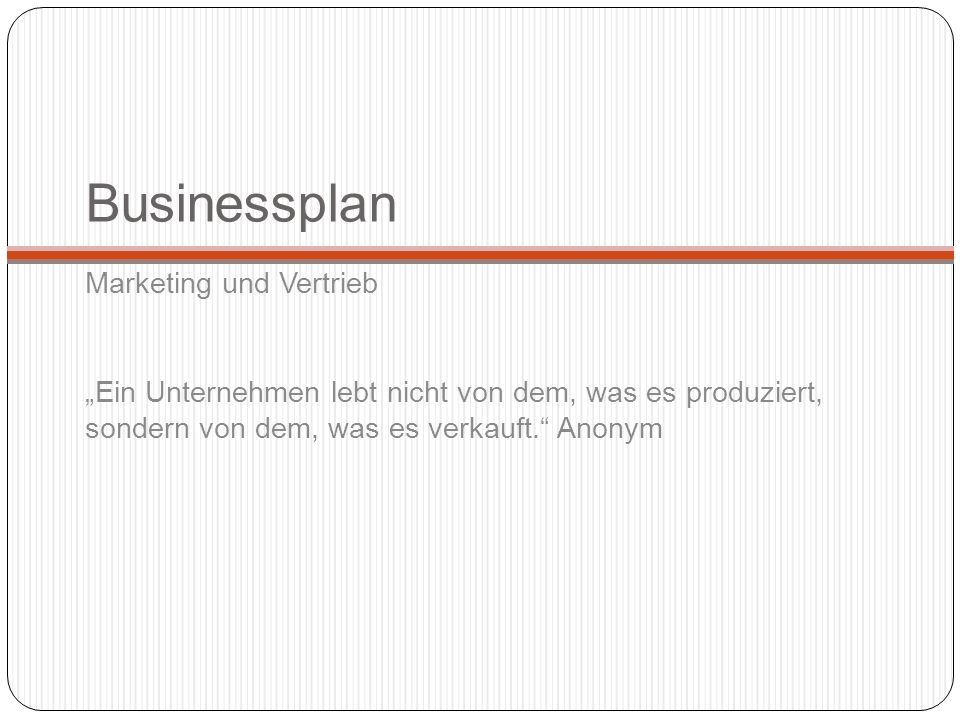 Businessplan Marketing und Vertrieb