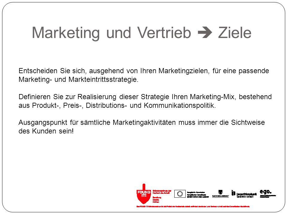 Marketing und Vertrieb  Ziele