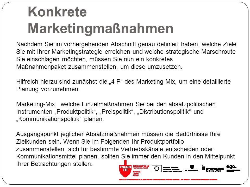 Konkrete Marketingmaßnahmen