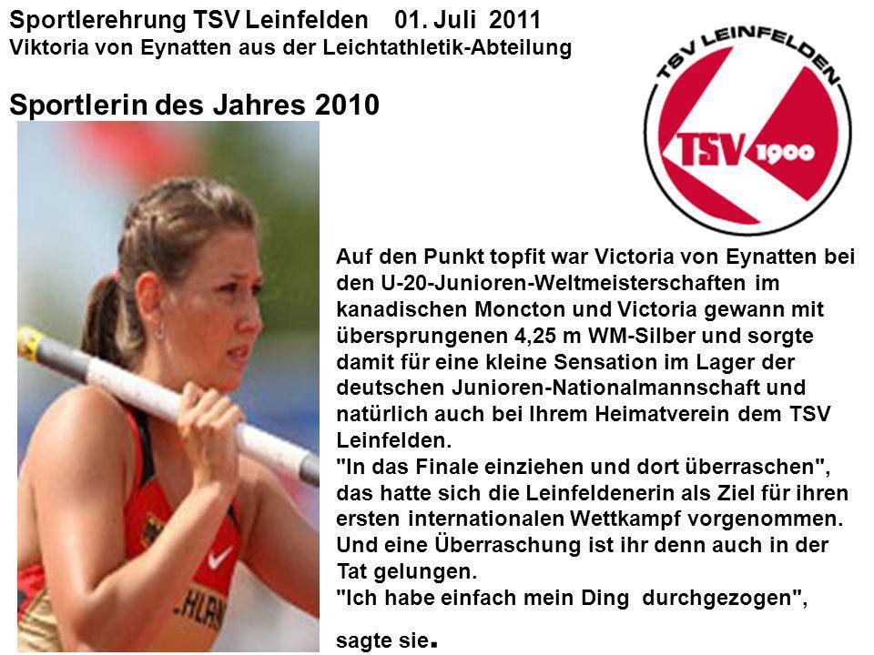 Sportlerin des Jahres 2010 Sportlerehrung TSV Leinfelden 01. Juli 2011