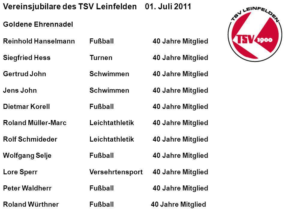 Vereinsjubilare des TSV Leinfelden 01. Juli 2011