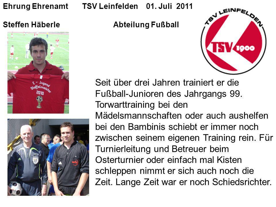 Ehrung Ehrenamt TSV Leinfelden 01. Juli 2011