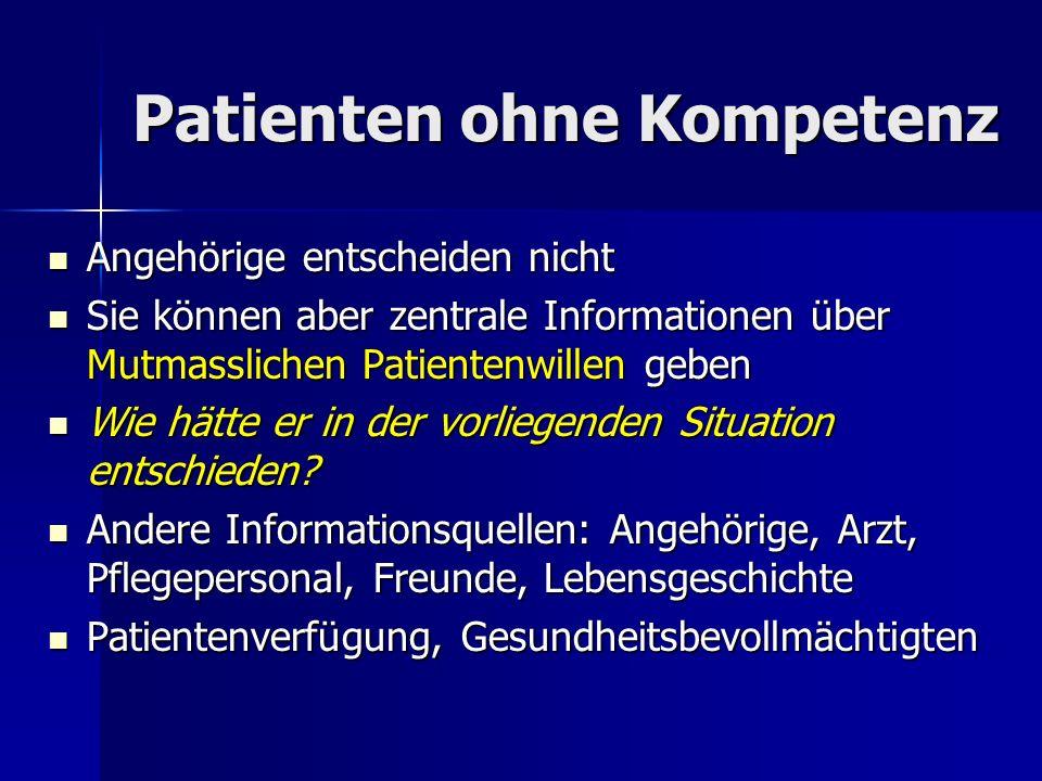 Patienten ohne Kompetenz