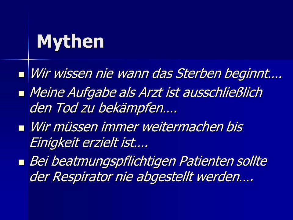 Mythen Wir wissen nie wann das Sterben beginnt….