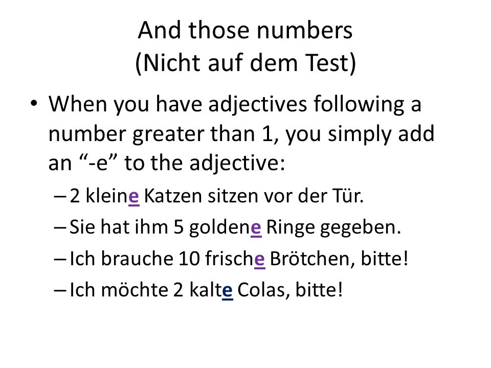 And those numbers (Nicht auf dem Test)