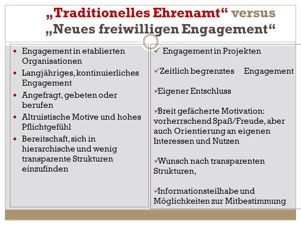 """Traditionelles Ehrenamt versus ""Neues freiwilligen Engagement"