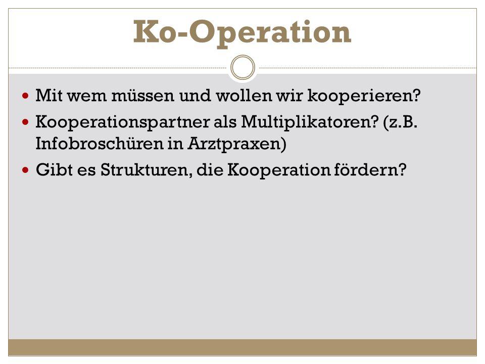 Ko-Operation Mit wem müssen und wollen wir kooperieren
