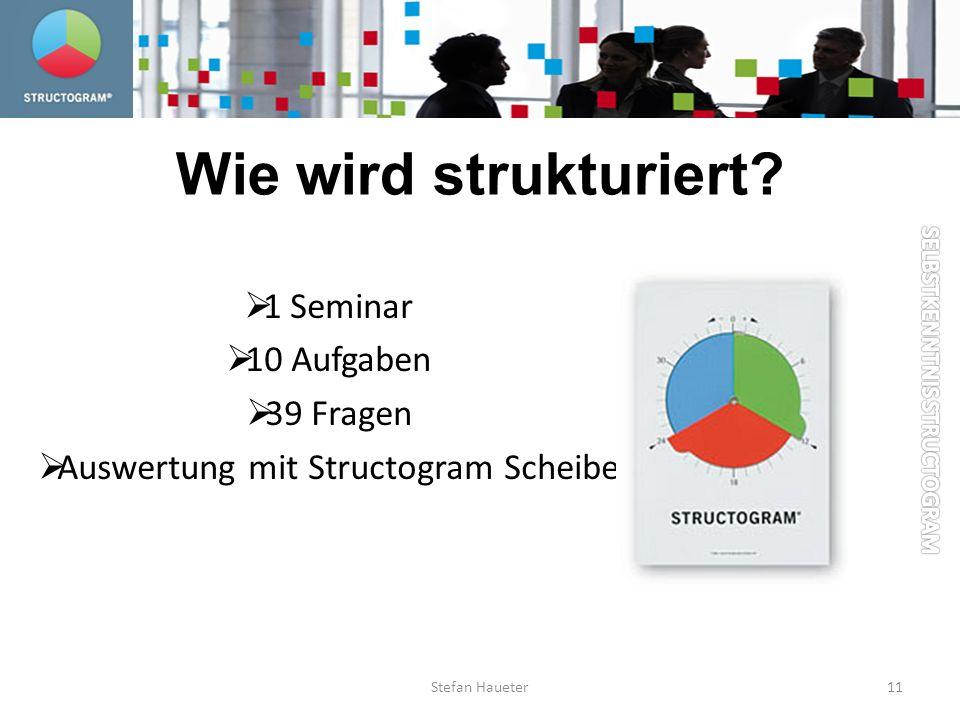 1 Seminar 10 Aufgaben 39 Fragen Auswertung mit Structogram Scheibe