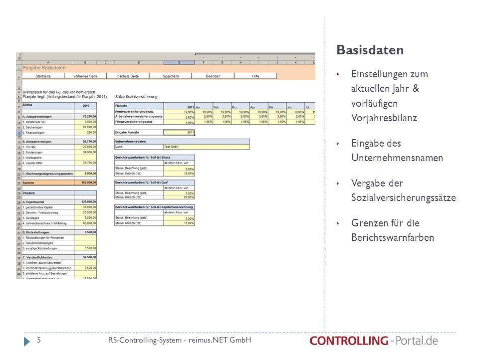 Basisdaten Einstellungen zum aktuellen Jahr & vorläufigen Vorjahresbilanz. Eingabe des Unternehmensnamen.