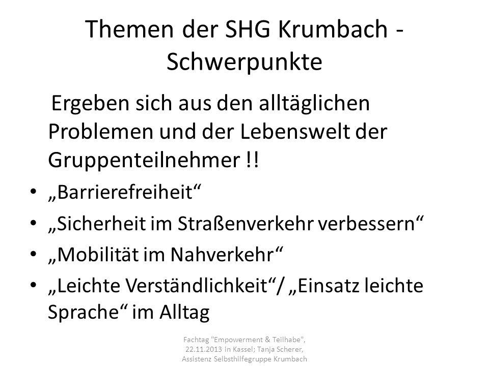 Themen der SHG Krumbach - Schwerpunkte
