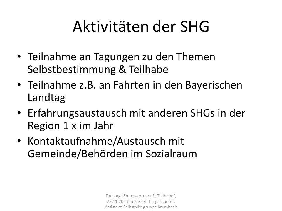 Aktivitäten der SHG Teilnahme an Tagungen zu den Themen Selbstbestimmung & Teilhabe. Teilnahme z.B. an Fahrten in den Bayerischen Landtag.