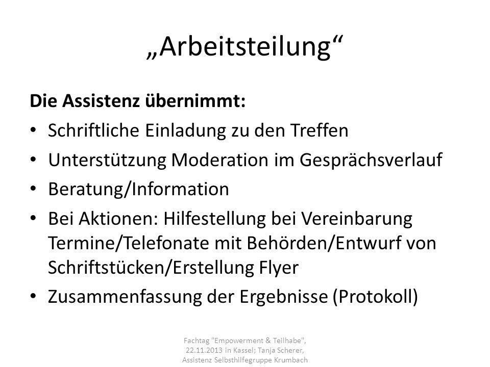 """""""Arbeitsteilung Die Assistenz übernimmt:"""
