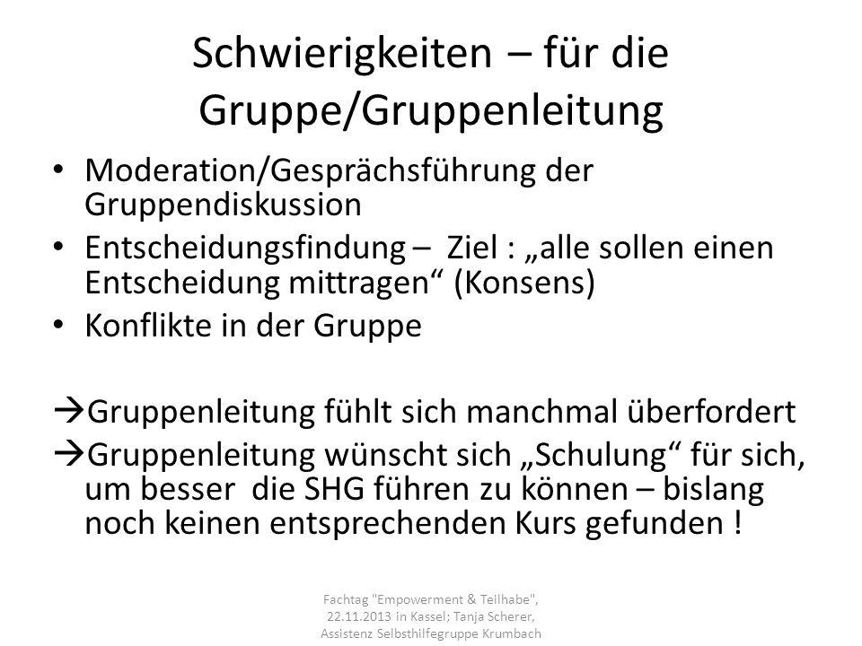 Schwierigkeiten – für die Gruppe/Gruppenleitung