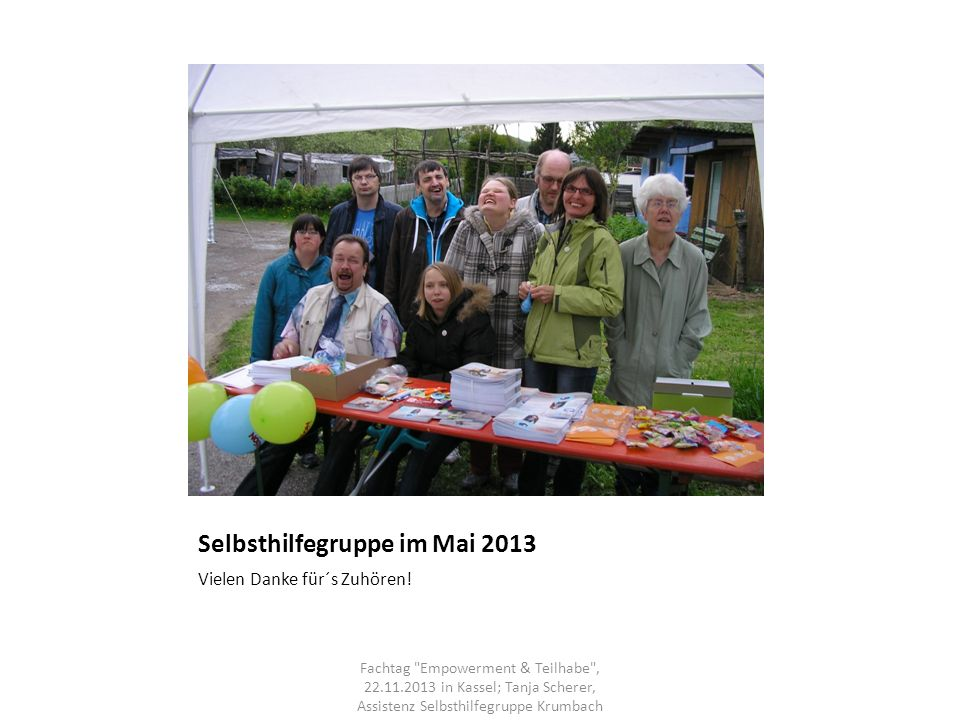 Selbsthilfegruppe im Mai 2013
