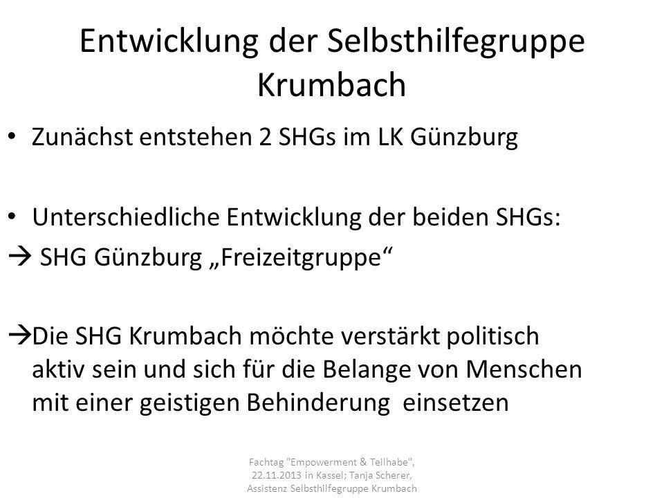 Entwicklung der Selbsthilfegruppe Krumbach