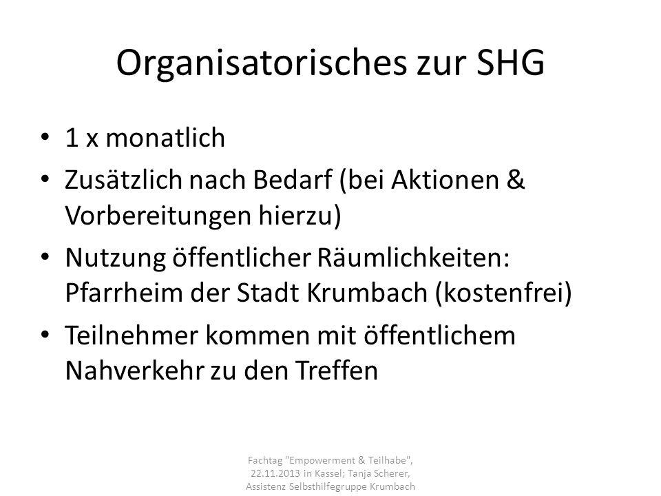 Organisatorisches zur SHG
