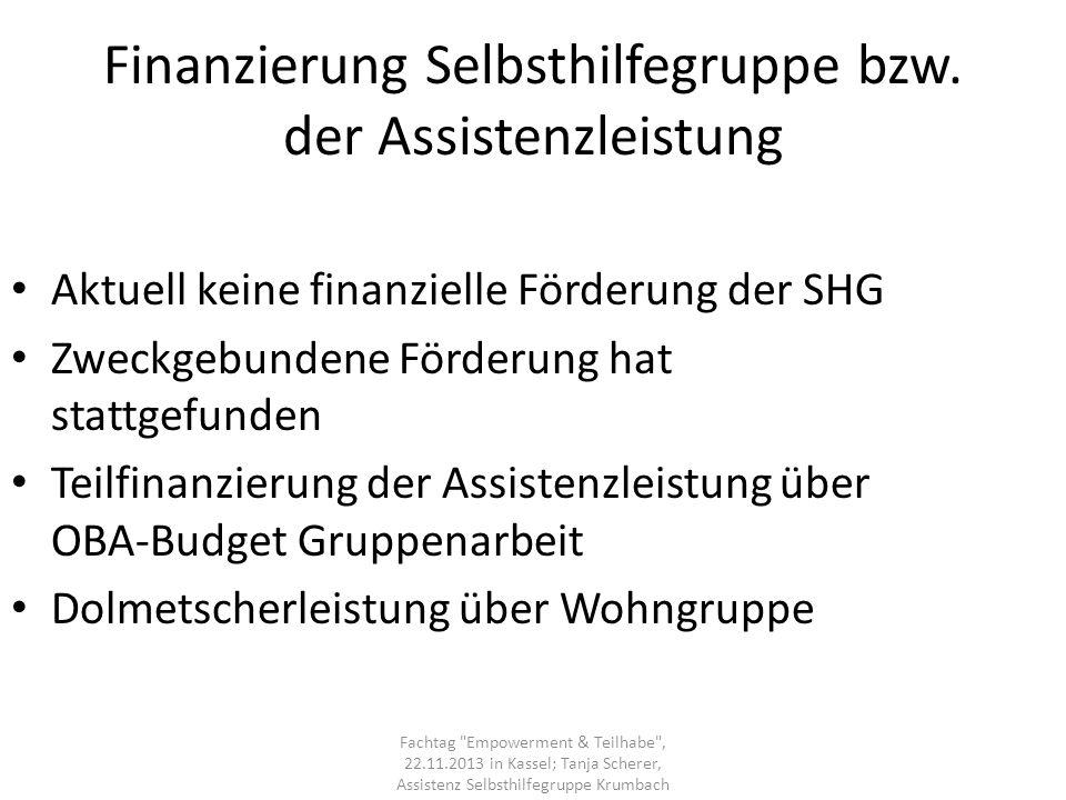 Finanzierung Selbsthilfegruppe bzw. der Assistenzleistung