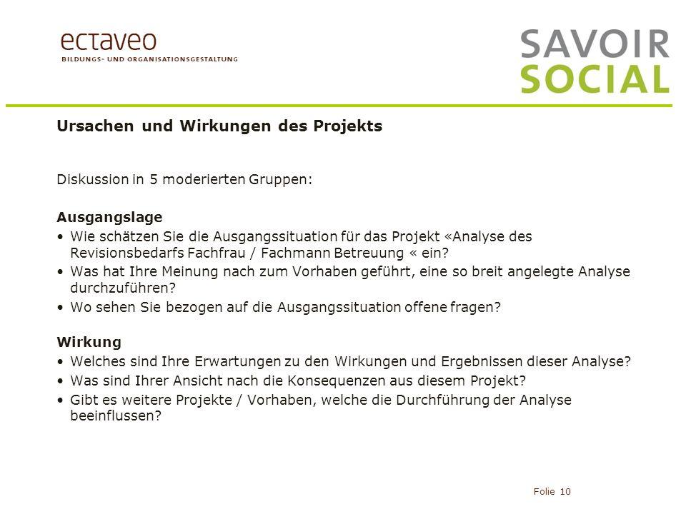 Ursachen und Wirkungen des Projekts