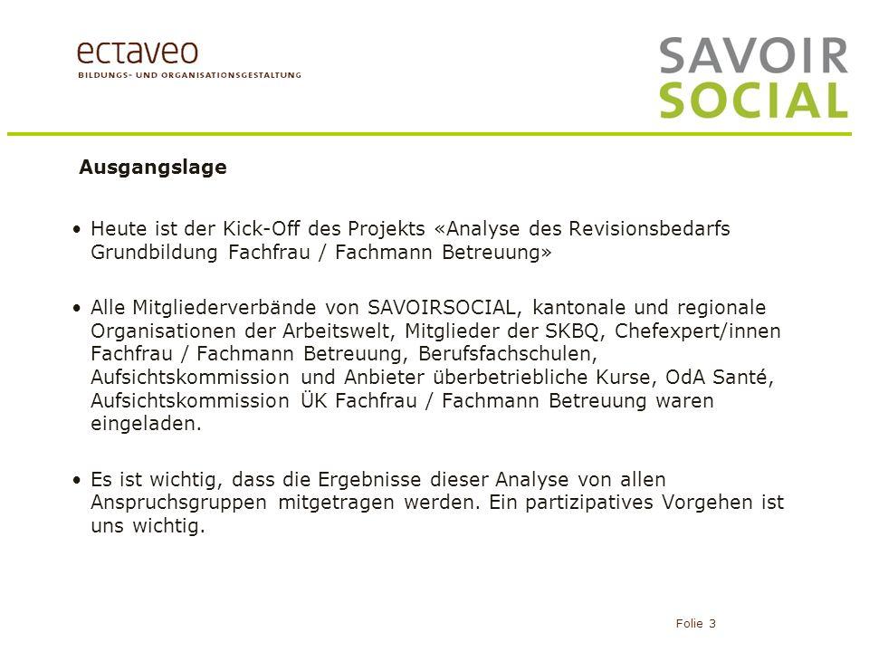 Ausgangslage Heute ist der Kick-Off des Projekts «Analyse des Revisionsbedarfs Grundbildung Fachfrau / Fachmann Betreuung»
