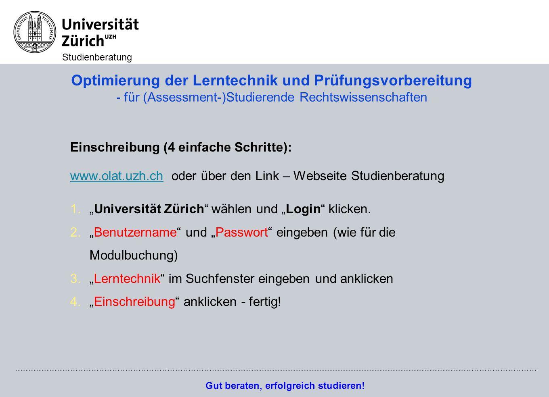 Optimierung der Lerntechnik und Prüfungsvorbereitung - für (Assessment-)Studierende Rechtswissenschaften