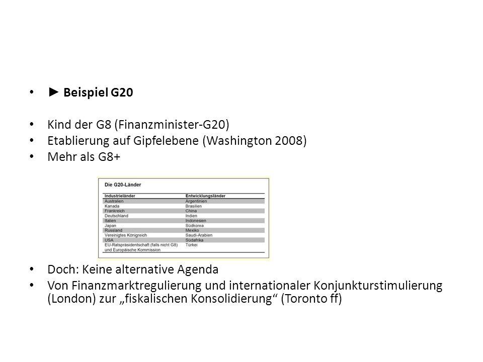 ► Beispiel G20Kind der G8 (Finanzminister-G20) Etablierung auf Gipfelebene (Washington 2008) Mehr als G8+