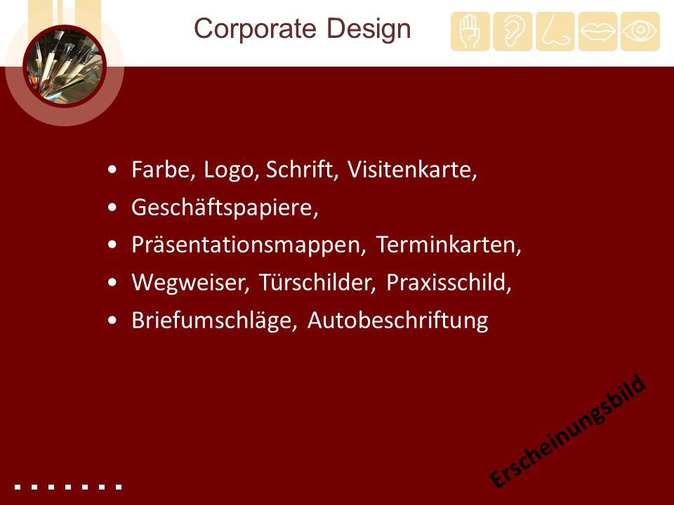 Corporate Design Farbe, Logo, Schrift, Visitenkarte, Geschäftspapiere,