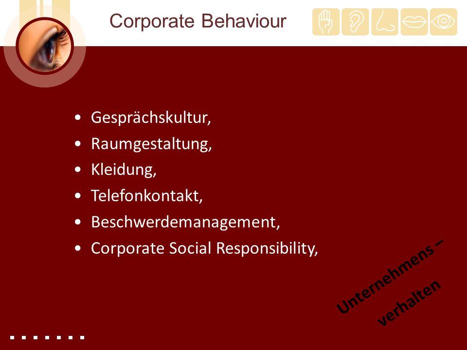 Corporate Behaviour Gesprächskultur, Raumgestaltung, Kleidung,