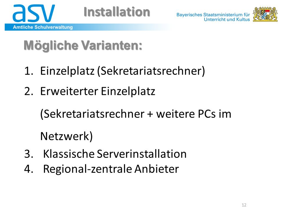 Installation Mögliche Varianten: Einzelplatz (Sekretariatsrechner)