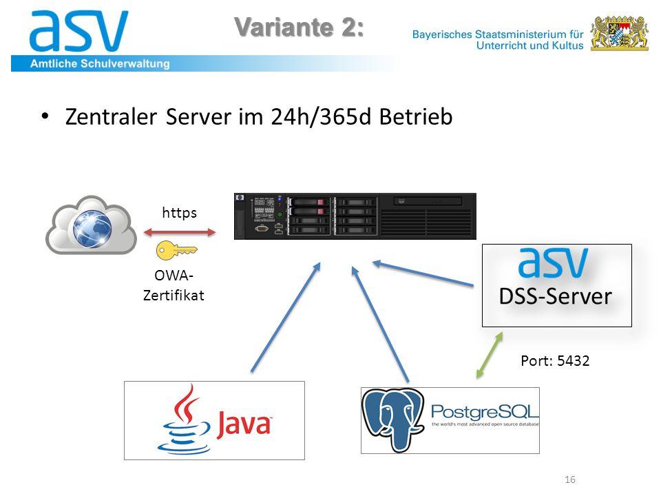 Zentraler Server im 24h/365d Betrieb