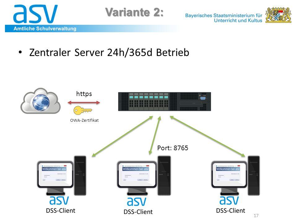 Zentraler Server 24h/365d Betrieb