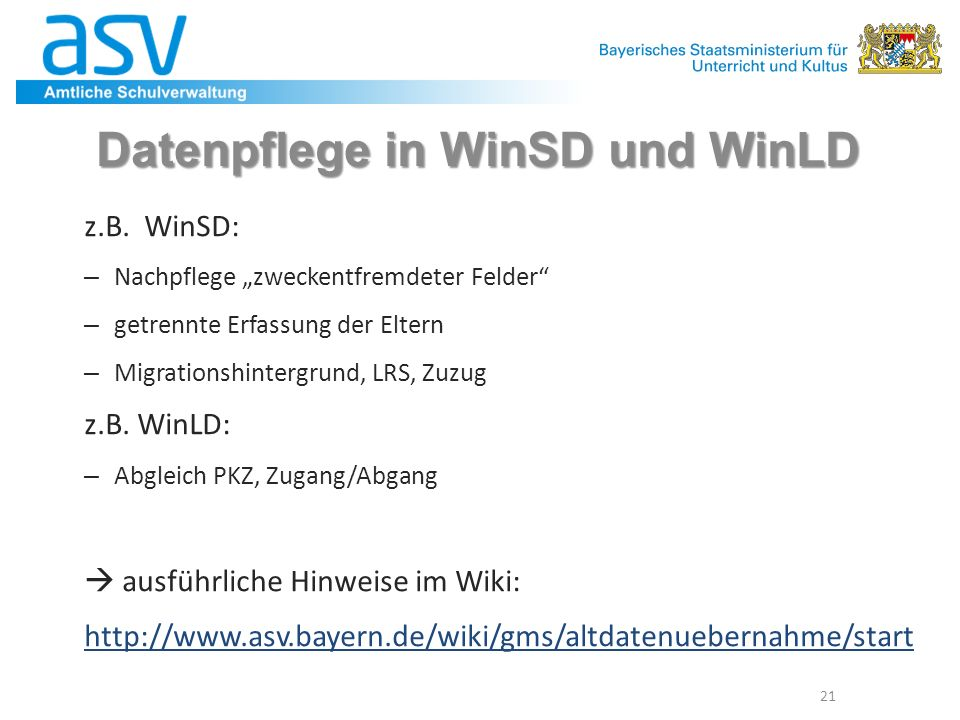 Datenpflege in WinSD und WinLD