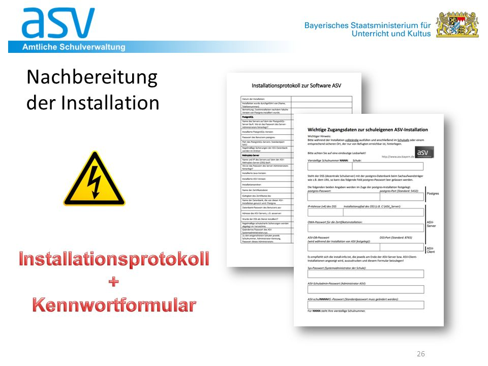 Installationsprotokoll + Kennwortformular