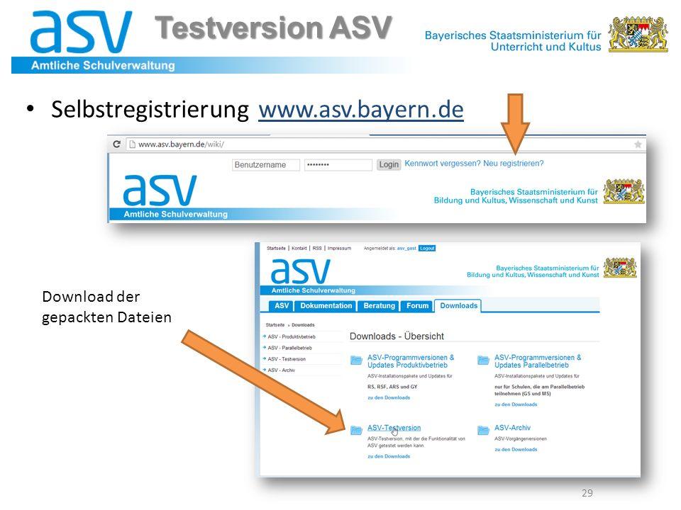 Testversion ASV Selbstregistrierung www.asv.bayern.de