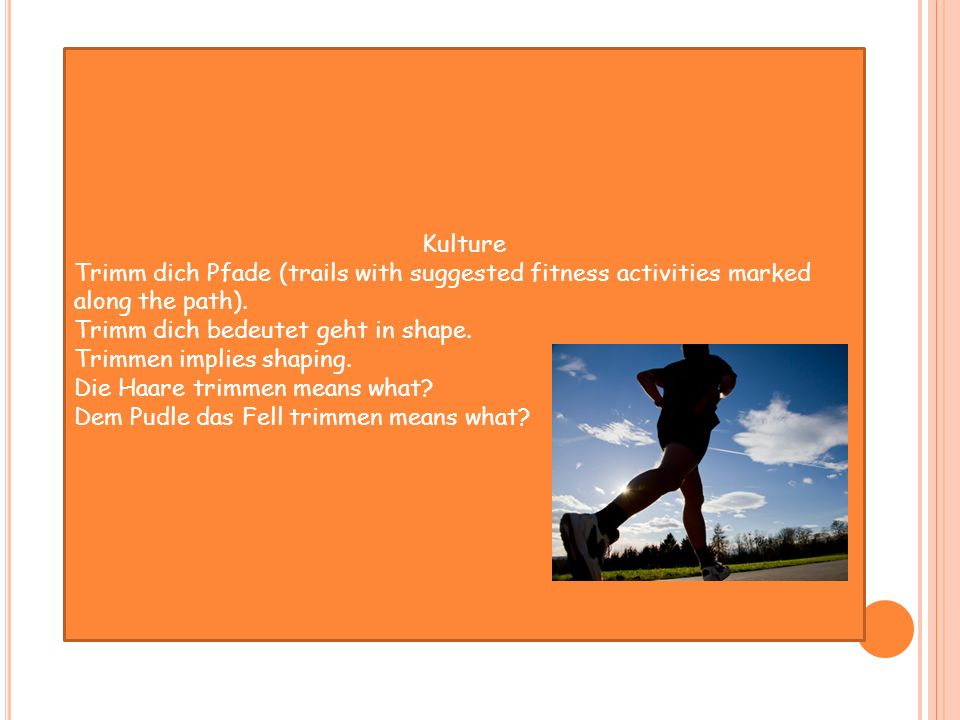 Kulture Trimm dich Pfade (trails with suggested fitness activities marked along the path). Trimm dich bedeutet geht in shape.