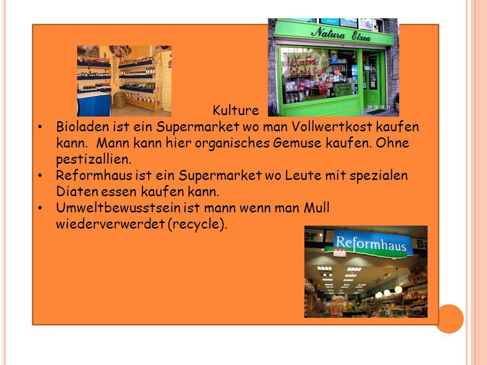 Kulture Bioladen ist ein Supermarket wo man Vollwertkost kaufen kann. Mann kann hier organisches Gemuse kaufen. Ohne pestizallien.