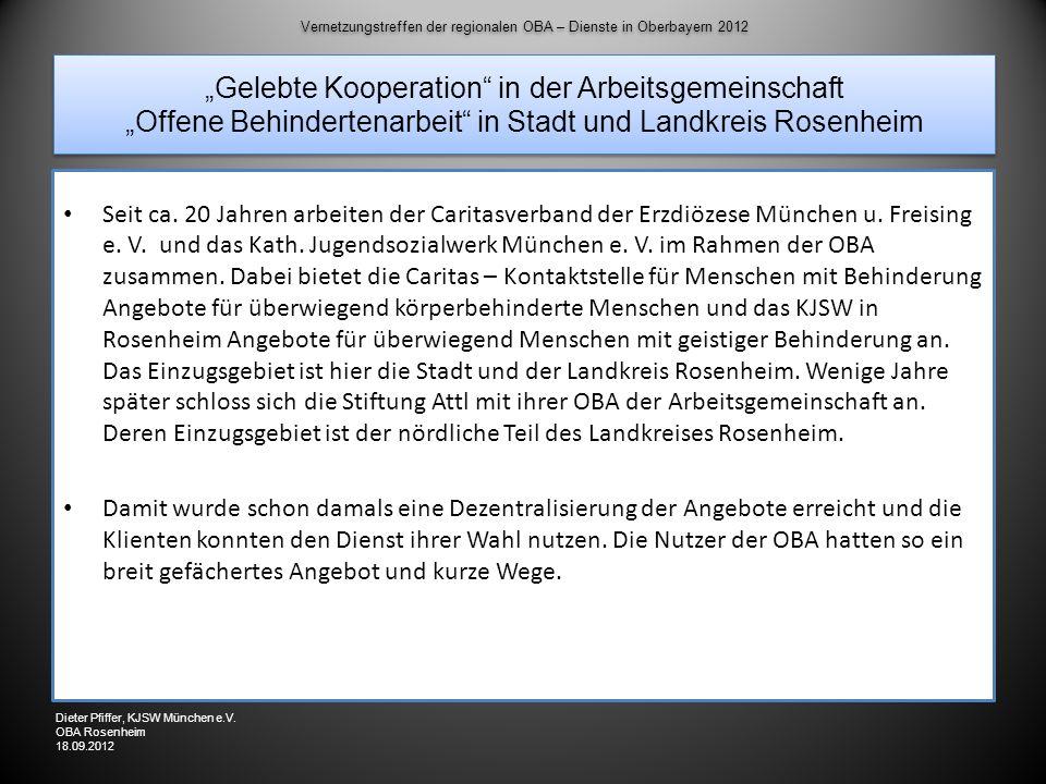 """Vernetzungstreffen der regionalen OBA – Dienste in Oberbayern 2012 """"Gelebte Kooperation in der Arbeitsgemeinschaft """"Offene Behindertenarbeit in Stadt und Landkreis Rosenheim"""
