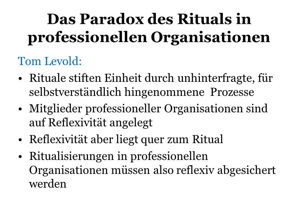 Das Paradox des Rituals in professionellen Organisationen