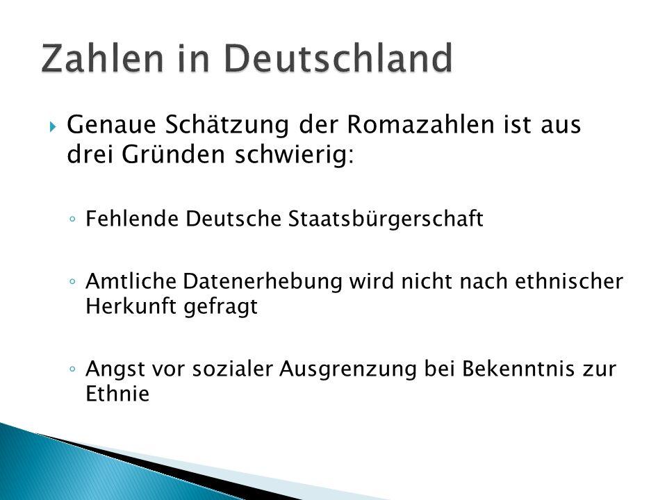 Zahlen in Deutschland Genaue Schätzung der Romazahlen ist aus drei Gründen schwierig: Fehlende Deutsche Staatsbürgerschaft.