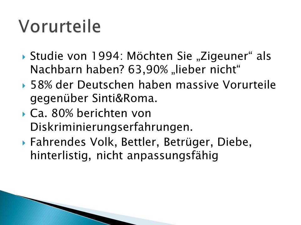 """Vorurteile Studie von 1994: Möchten Sie """"Zigeuner als Nachbarn haben 63,90% """"lieber nicht"""