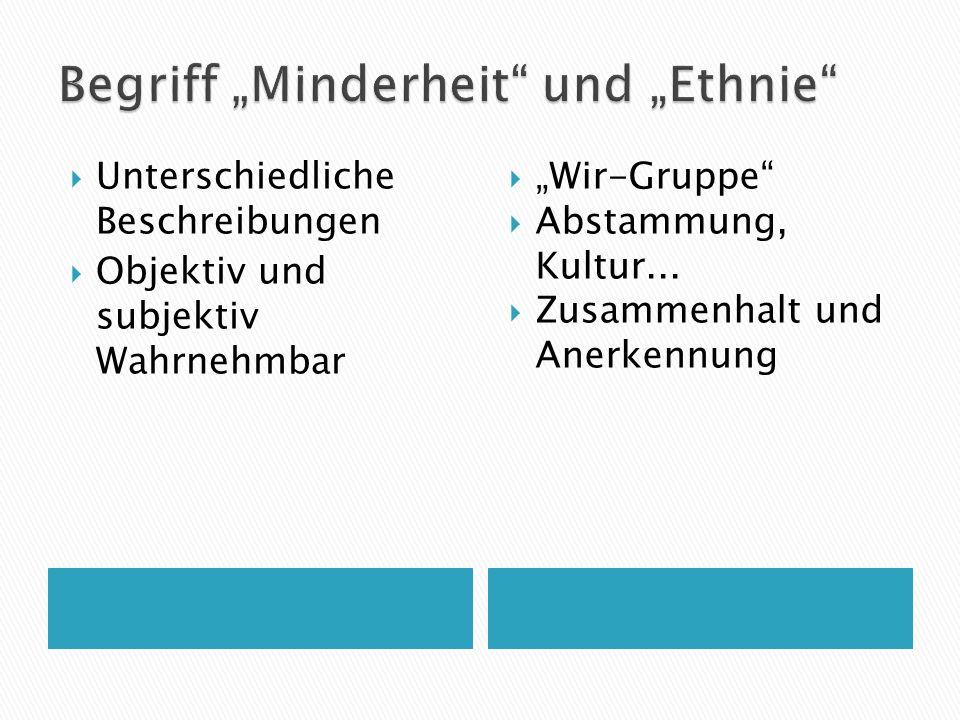 """Begriff """"Minderheit und """"Ethnie"""