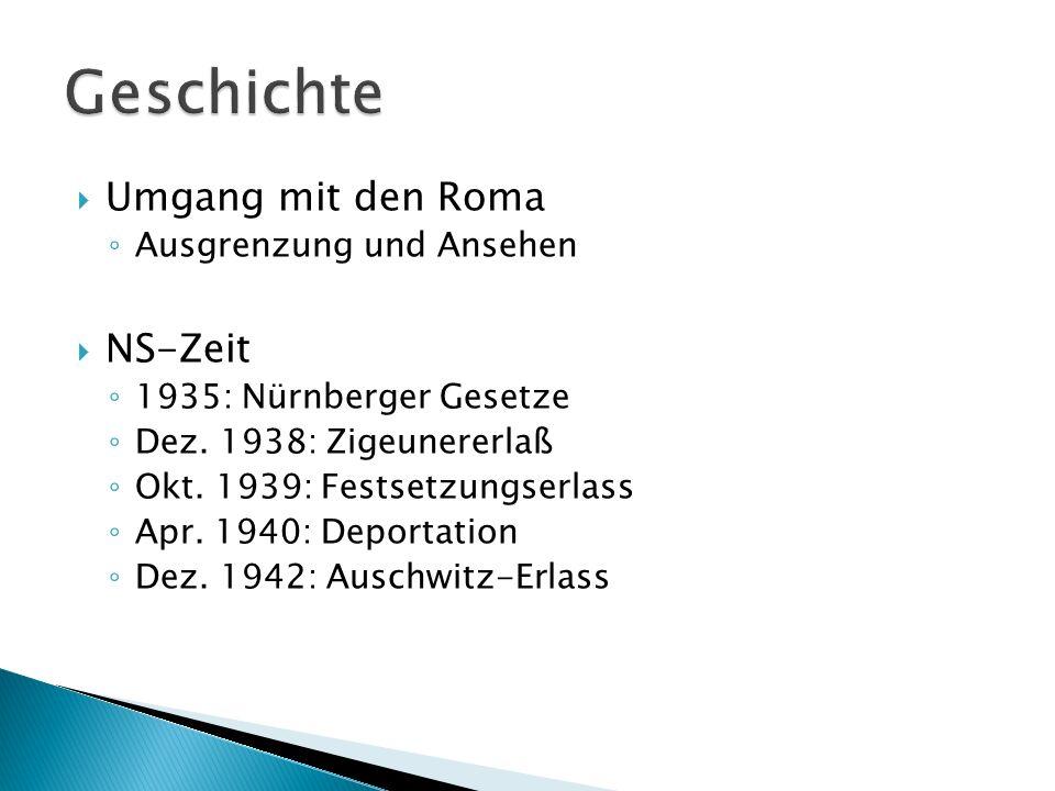Geschichte Umgang mit den Roma NS-Zeit Ausgrenzung und Ansehen