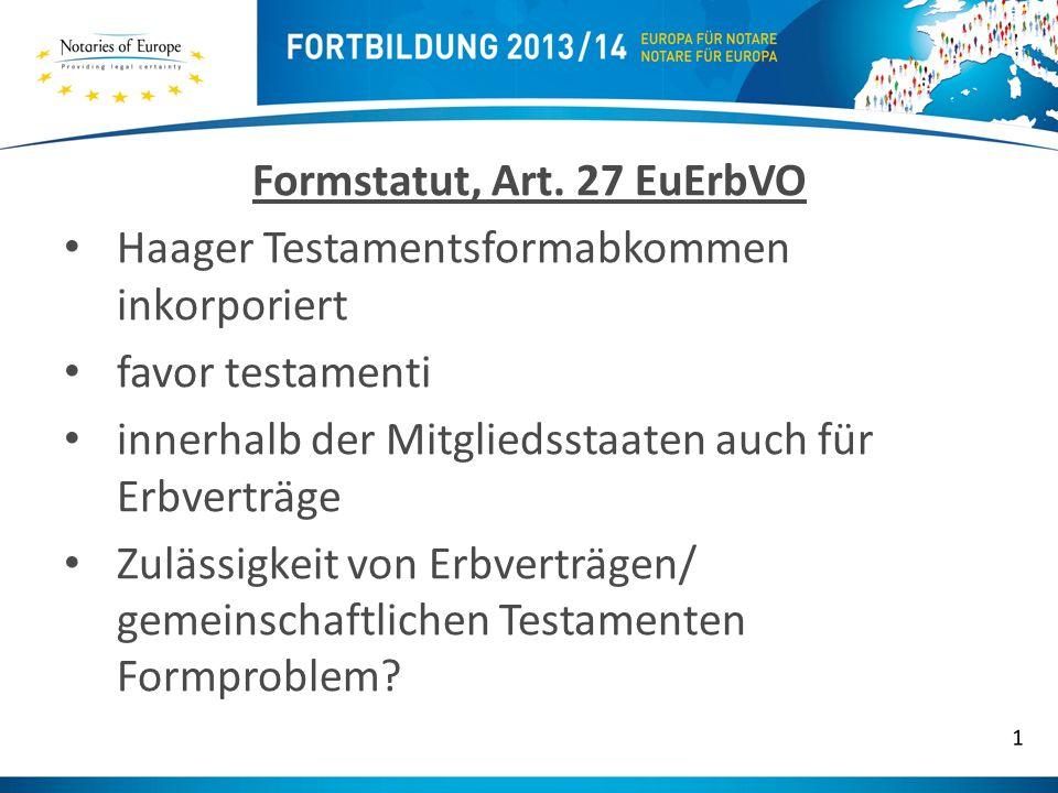 Formstatut, Art. 27 EuErbVO