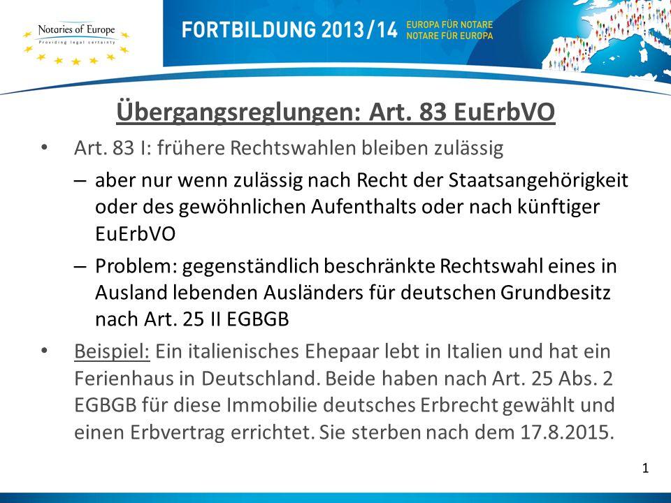 Übergangsreglungen: Art. 83 EuErbVO
