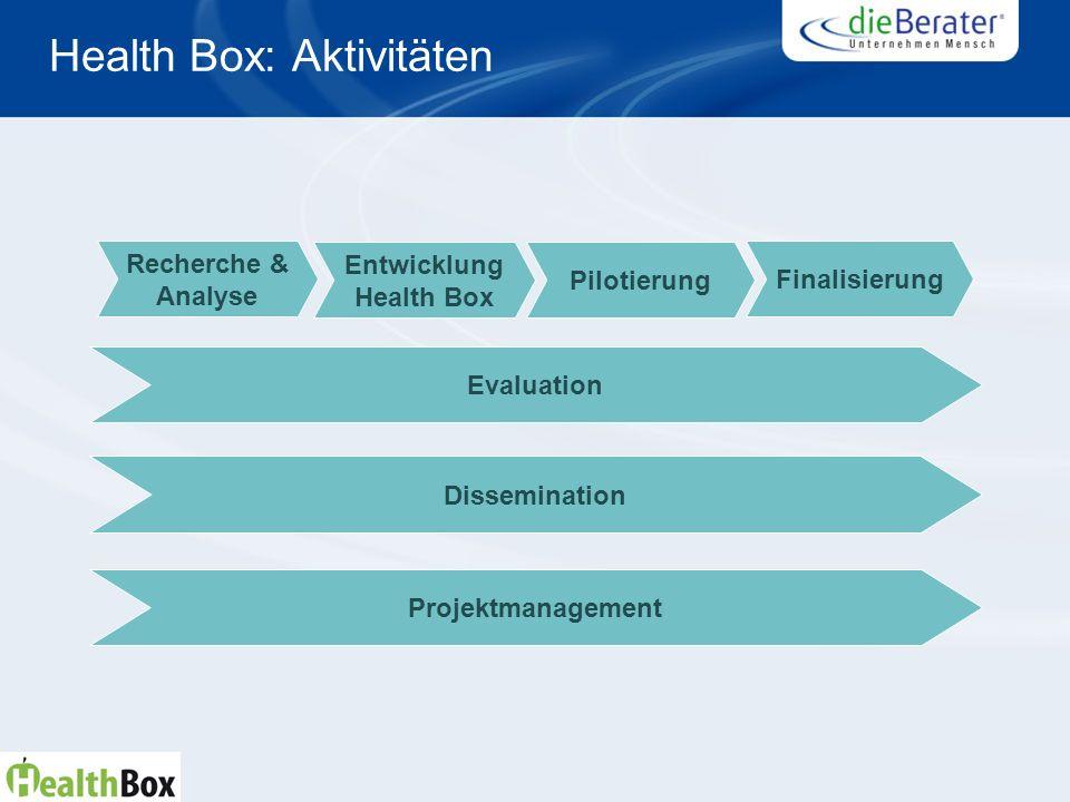 Health Box: Aktivitäten